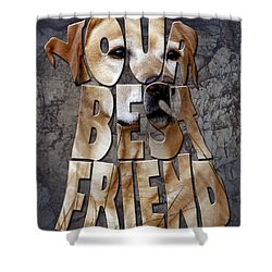 Golden Labrador Retriever Typography Art Shower Curtain by Georgeta Blanaru