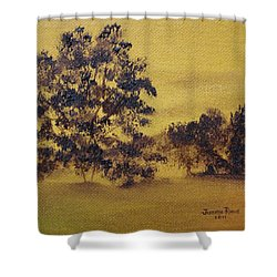 Shower Curtain featuring the painting Golden Landscape by Judith Rhue