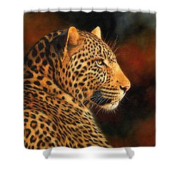 Golden Leopard Shower Curtain by David Stribbling