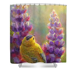 Golden Light 1 Wilsons Warbler And Lupine Shower Curtain