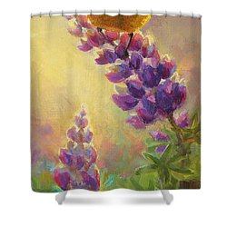 Golden Light 2 Wilsons Warbler And Lupine Shower Curtain