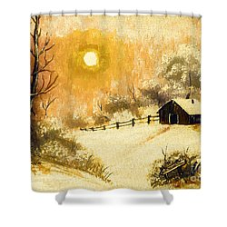 Golden Morning Shower Curtain by Barbara Griffin