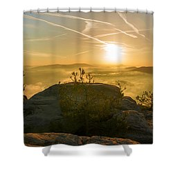Golden Morning On The Lilienstein Shower Curtain