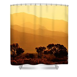 Golden Mountain Light Shower Curtain