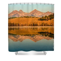 Golden Mountains  Reflection Shower Curtain