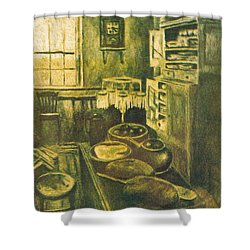 Golden Old Fashioned Kitchen Shower Curtain by Kendall Kessler