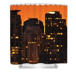 Shower Curtain featuring the photograph Golden Orange Cityscape Dccc by Amyn Nasser