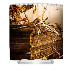 Golden Pages Falling Flowers Shower Curtain by Bob Orsillo