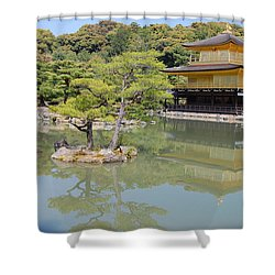 Golden Pavilion Shower Curtain by Jonah  Anderson