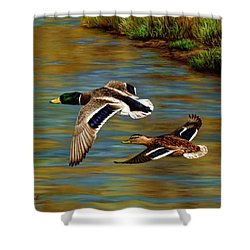 Golden Pond Shower Curtain by Crista Forest