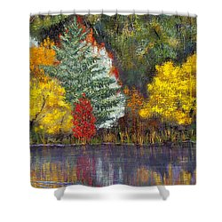 Shower Curtain featuring the painting Autumn Tapestry by Margaret Bobb