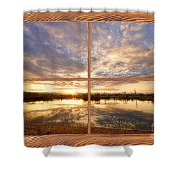 Golden Ponds Sunset Reflections  Barn Wood Picture Window View Shower Curtain by James BO  Insogna