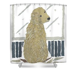Golden Retriever Art Hand-torn Newspaper Collage Art Shower Curtain by Keiko Suzuki Bless Hue