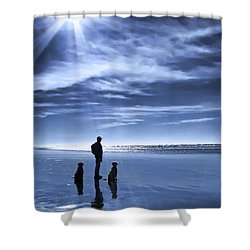 Golden Retriever Dogs End Of The Day Shower Curtain by Jennie Marie Schell