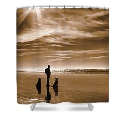 Golden Retriever Dogs End Of The Day Sepia Shower Curtain by Jennie Marie Schell