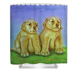 Shower Curtain featuring the painting Golden Retriever by Thomas J Herring
