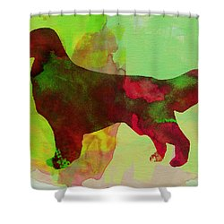 Golden Retriever Watercolor Shower Curtain by Naxart Studio