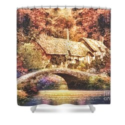 Golden Ripple Shower Curtain by Mo T
