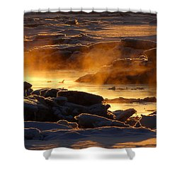 Golden Sea Smoke At Sunrise Shower Curtain by Dianne Cowen