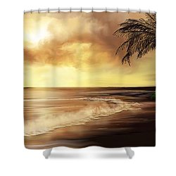 Shower Curtain featuring the digital art Golden Sky Over Tropical Beach by Anthony Fishburne