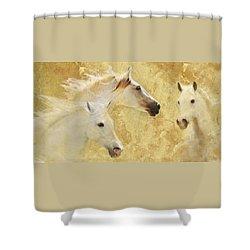Golden Steeds Shower Curtain