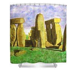 Golden Stonehenge Shower Curtain
