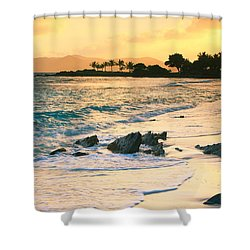 Golden Sunrise On Sapphire Beach Shower Curtain by Roupen  Baker