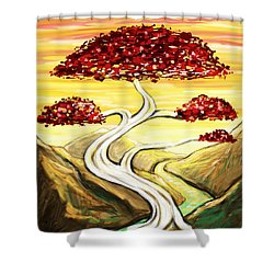 Golden Sunrise Shower Curtain by Shawna Rowe