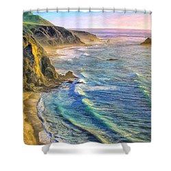 Golden Sunset At Big Sur Shower Curtain
