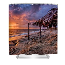 Golden Sunset The Surf Shack Shower Curtain