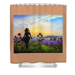 Golden Surrender Shower Curtain by Vesna Martinjak