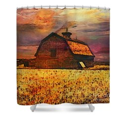Golden Wheat Sunset Barn Shower Curtain