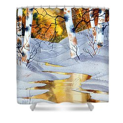 Golden Winter Shower Curtain