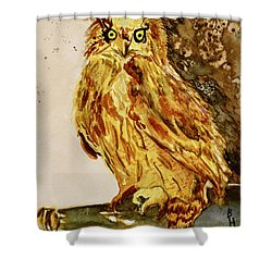 Shower Curtain featuring the painting Goldene Bier Eule by Beverley Harper Tinsley