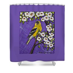 Goldfinch In Pear Blossoms Shower Curtain
