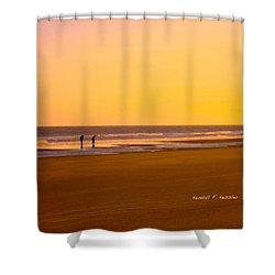 Goldlen Shore At Isle Of Palms Shower Curtain by Kendall Kessler