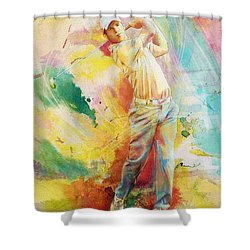 Golf Action 01 Shower Curtain by Catf