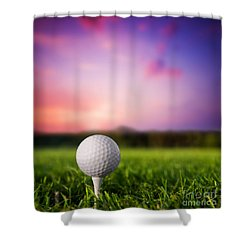 Golf Ball On Tee At Sunset Shower Curtain