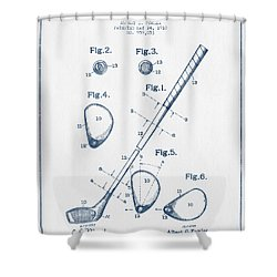 Golf Club Patent Drawing From 1910 - Blue Ink Shower Curtain by Aged Pixel