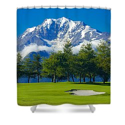 Golf Course In The Mountains - Riederalp Swiss Alps Switzerland Shower Curtain