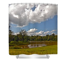Shower Curtain featuring the photograph Golf Course Landscape by Alex Grichenko