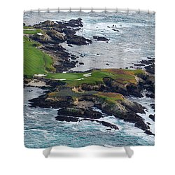 Golf Course On An Island, Pebble Beach Shower Curtain
