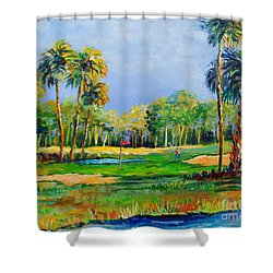 Golf In The Tropics Shower Curtain by Lou Ann Bagnall