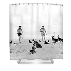 Golf With Gooney Birds Shower Curtain by Underwood Archives