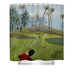 Shower Curtain featuring the painting Golfing At Monarch by Maria Langgle