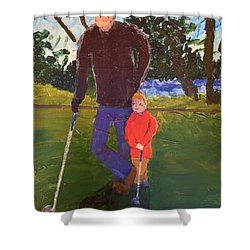 Shower Curtain featuring the painting Golfing by Donald J Ryker III
