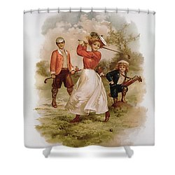 Golfing Shower Curtain by Ellen Hattie Clapsaddle