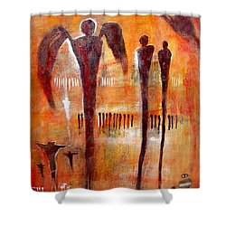Golgotha Petroglyph Shower Curtain by Derrick Higgins