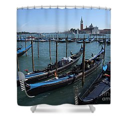 Shower Curtain featuring the photograph Gondola's - Grand Canal - Venice by Phil Banks