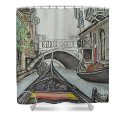 Shower Curtain featuring the painting Gondola Venice Italy by Malinda  Prudhomme